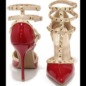 Wild Diva Red Studded Patent Leather Heels